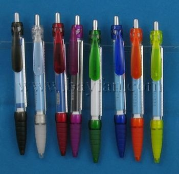 Novelty pens with springloaded banners